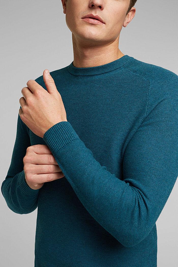 Jumper made of 100% organic cotton, TEAL BLUE, detail image number 2
