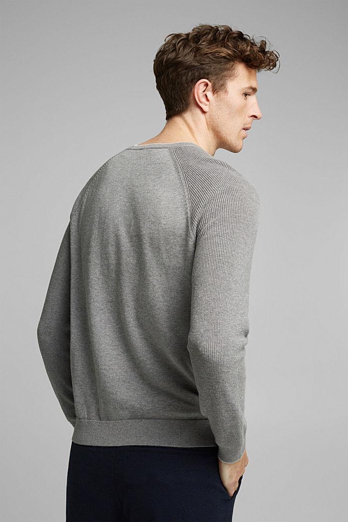 Struktur-Pullover aus 100% Organic Cotton, MEDIUM GREY, detail image number 3