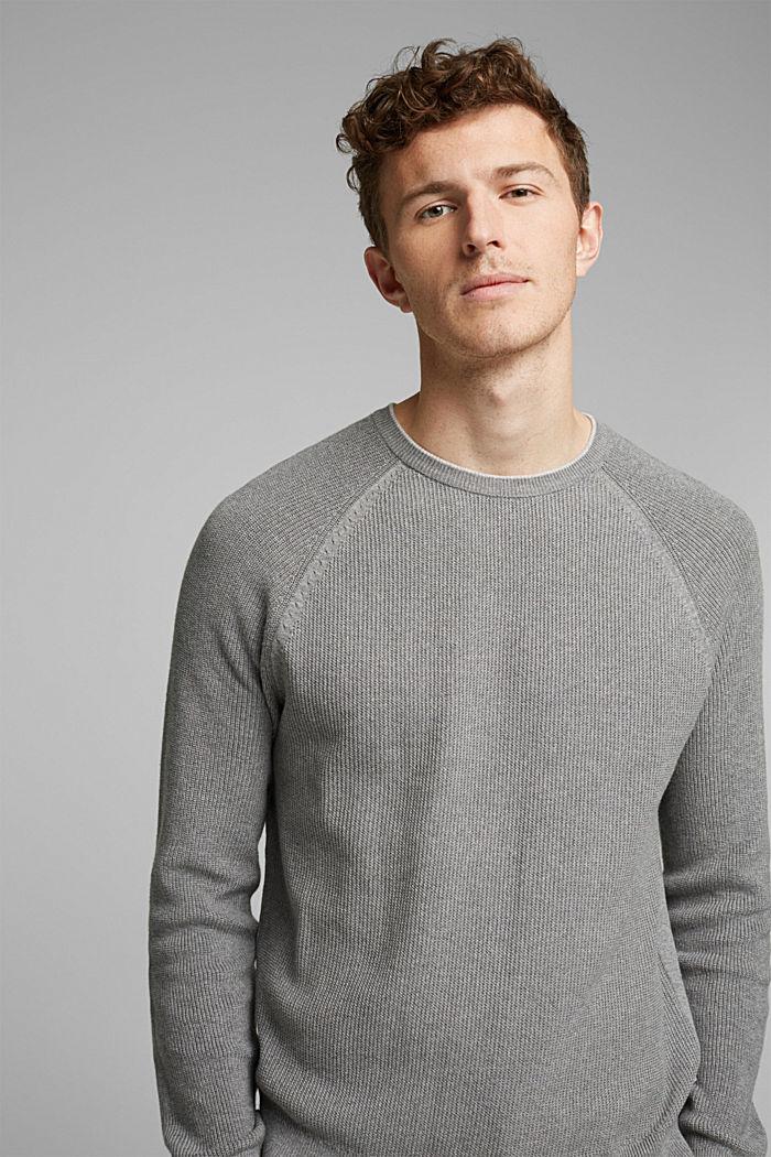 Struktur-Pullover aus 100% Organic Cotton, MEDIUM GREY, detail image number 5