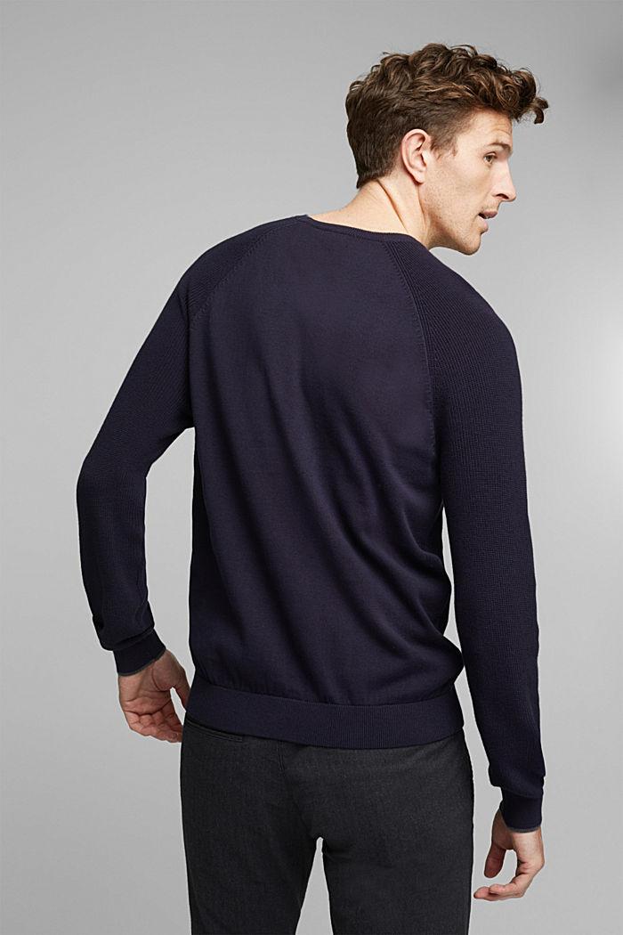 Gestructureerde trui van 100% organic cotton, NAVY, detail image number 3