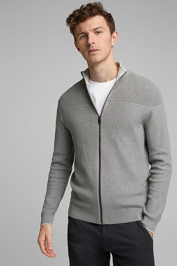 Textured zip cardigan, organic cotton