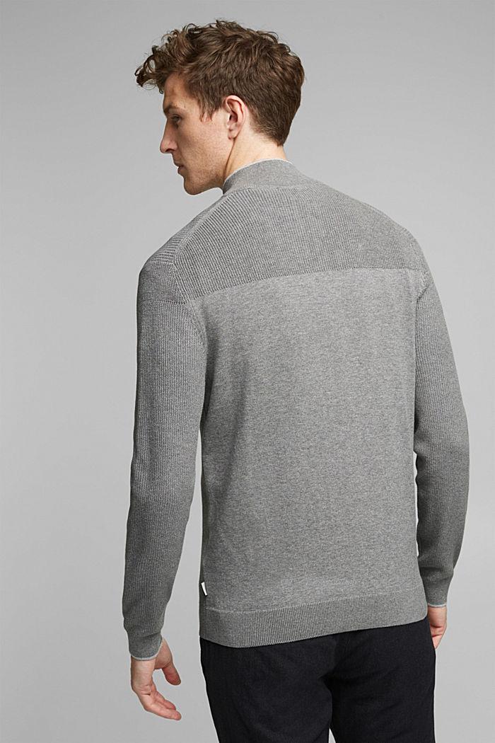 Textured zip cardigan, organic cotton, MEDIUM GREY, detail image number 3