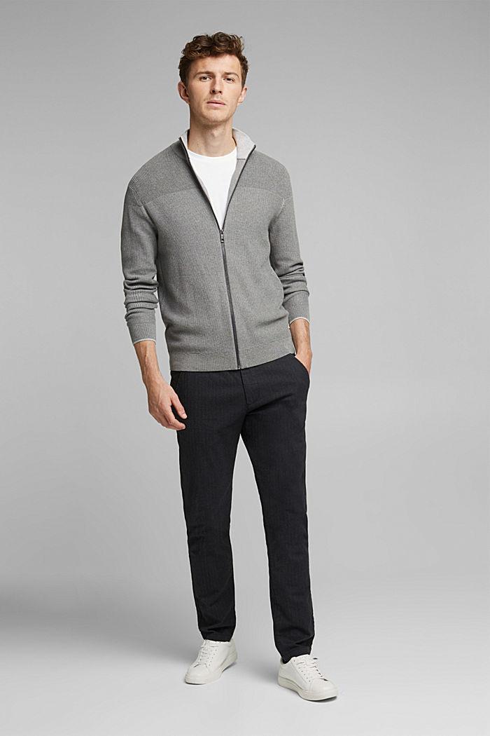 Textured zip cardigan, organic cotton, MEDIUM GREY, detail image number 6