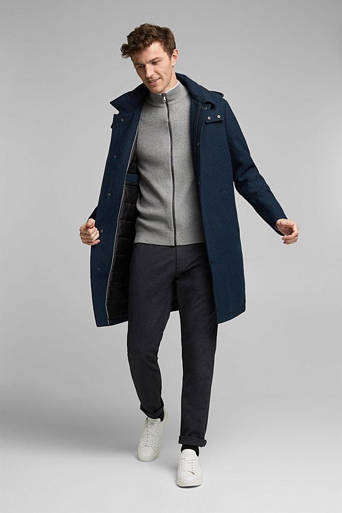 Textured zip cardigan, organic cotton, MEDIUM GREY, detail image number 1