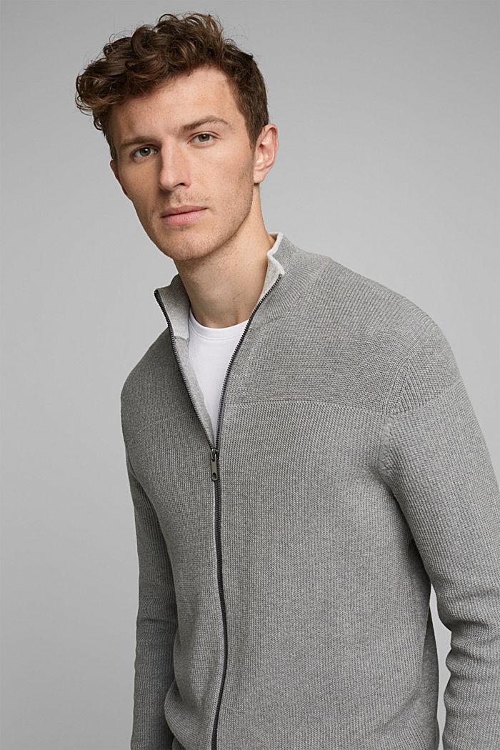 Textured zip cardigan, organic cotton, MEDIUM GREY, detail image number 5