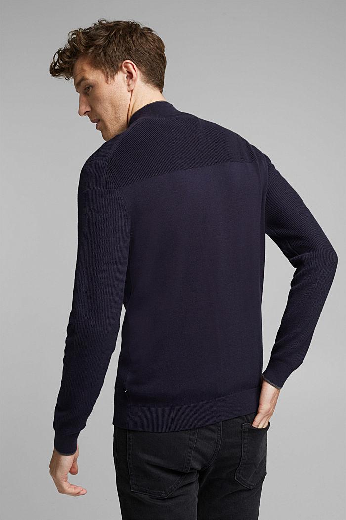 Textured zip cardigan, organic cotton, NAVY, detail image number 3