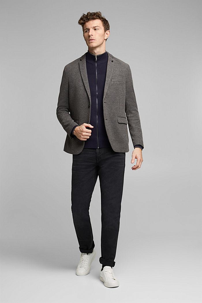 Textured zip cardigan, organic cotton, NAVY, detail image number 1