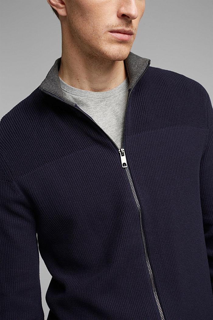 Textured zip cardigan, organic cotton, NAVY, detail image number 2