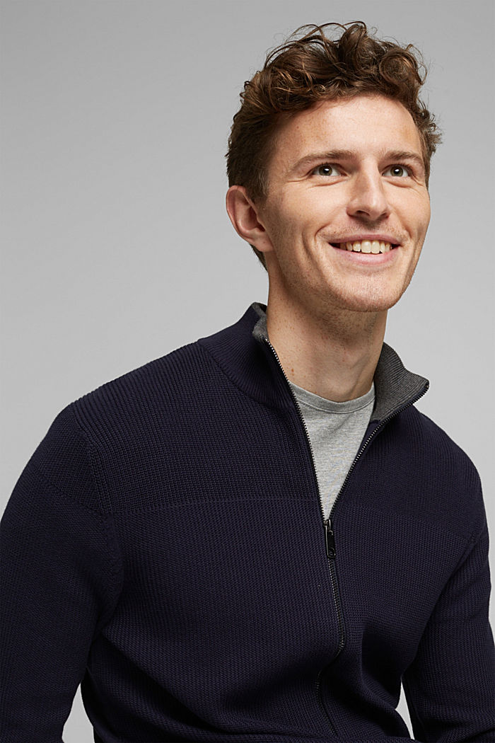 Textured zip cardigan, organic cotton, NAVY, detail image number 5