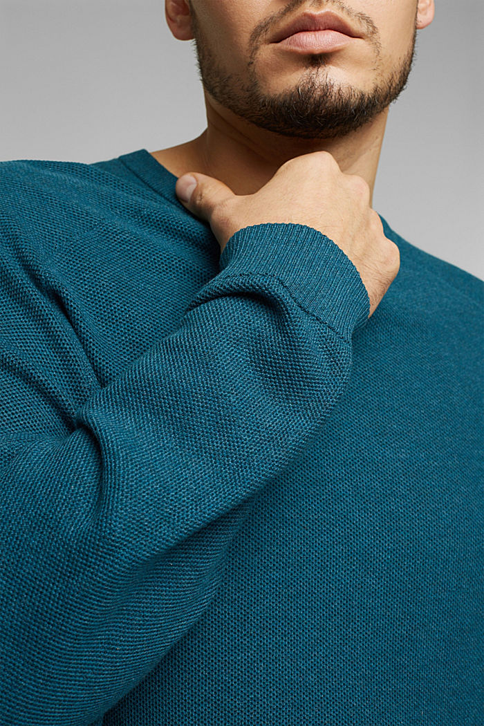 Pullover aus 100% Organic Cotton, TEAL BLUE, detail image number 1