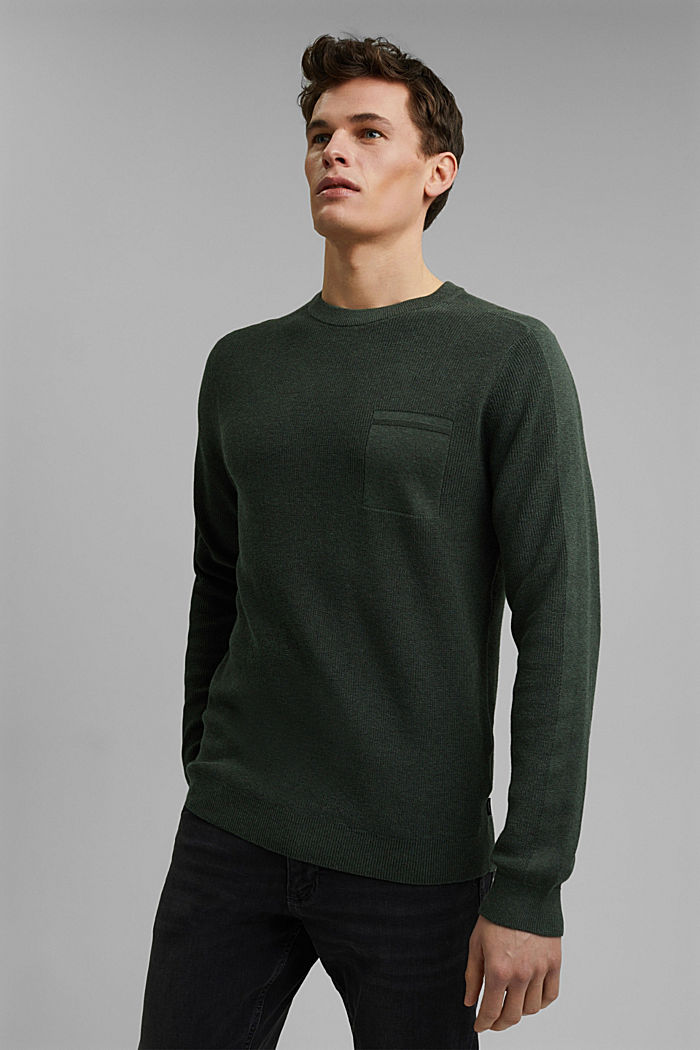 Trui van 100% organic cotton, KHAKI GREEN, detail image number 0