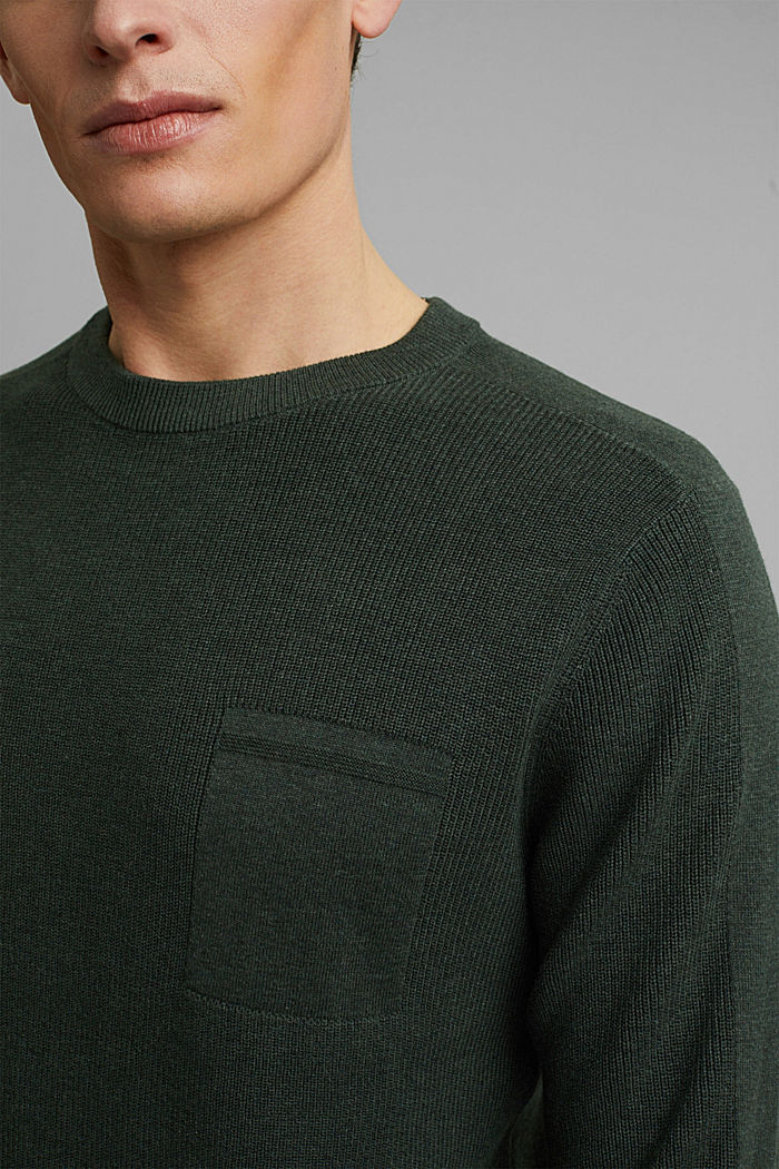 Trui van 100% organic cotton, KHAKI GREEN, detail image number 2