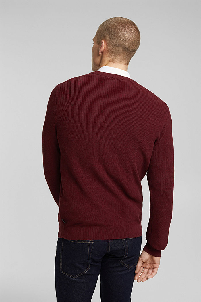 Jumper made of 100% organic cotton, BORDEAUX RED, detail image number 3