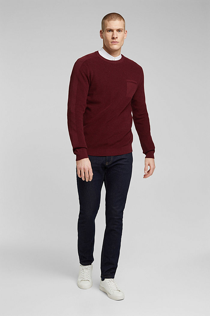 Pullover aus 100% Organic Cotton, BORDEAUX RED, detail image number 1