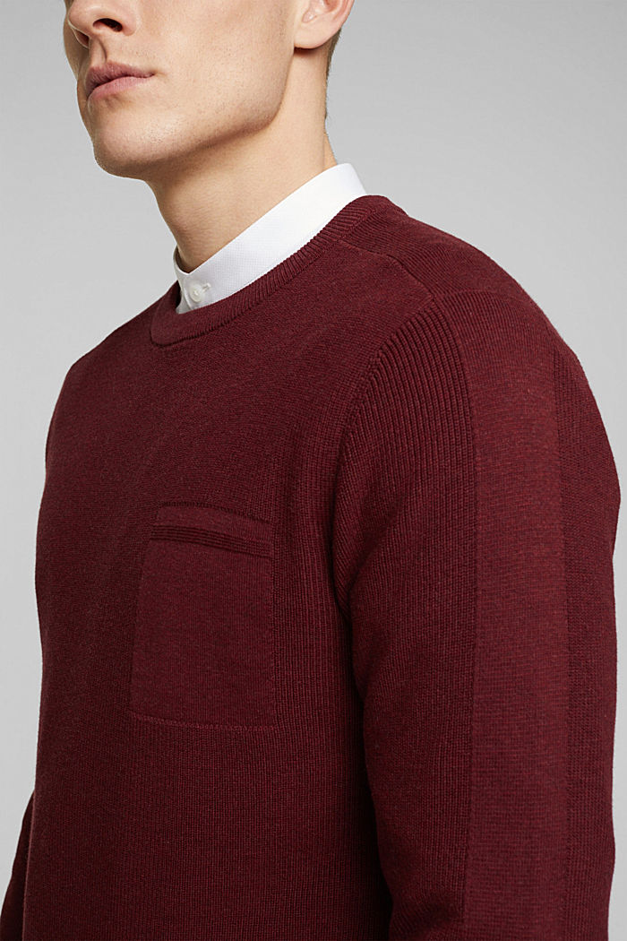 Jumper made of 100% organic cotton, BORDEAUX RED, detail image number 2