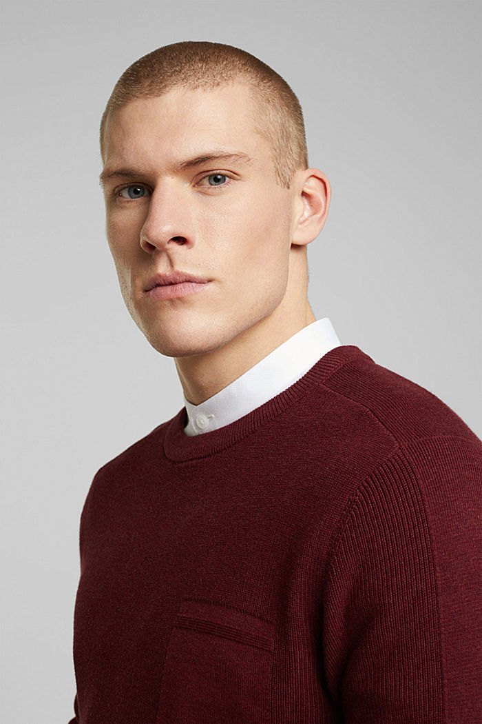 Pullover aus 100% Organic Cotton, BORDEAUX RED, detail image number 5