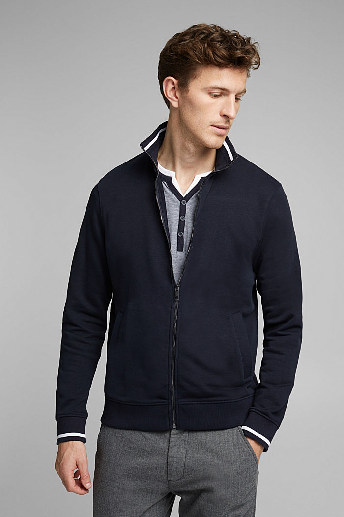 Recycled: sweatshirt cardigan containing organic cotton