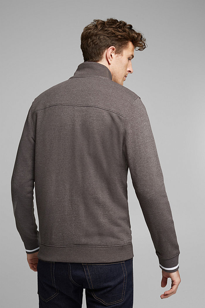 Recycled: Zip cardigan with organic cotton, ANTHRACITE, detail image number 3