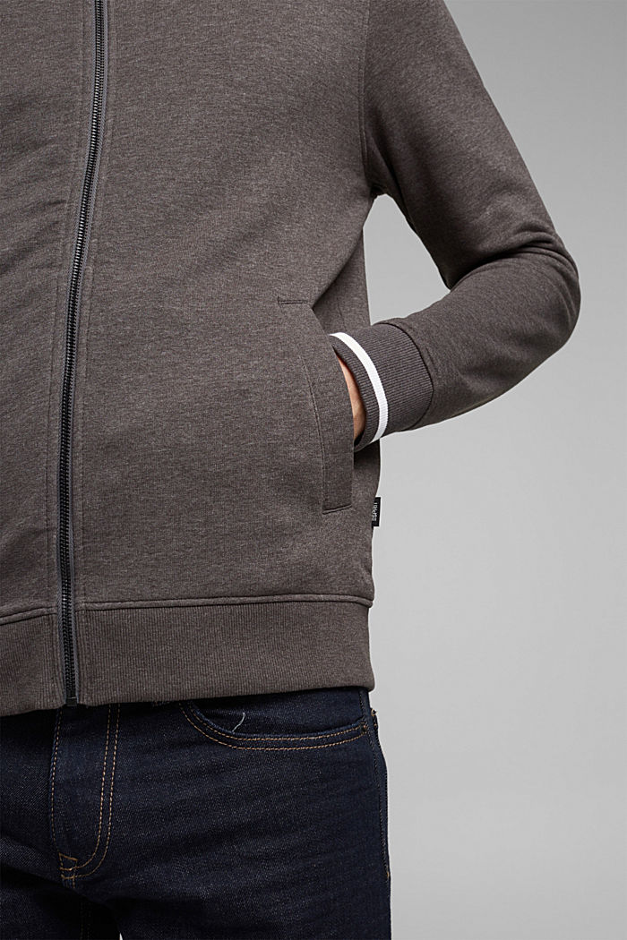 Recycled: Zip cardigan with organic cotton, ANTHRACITE, detail image number 2