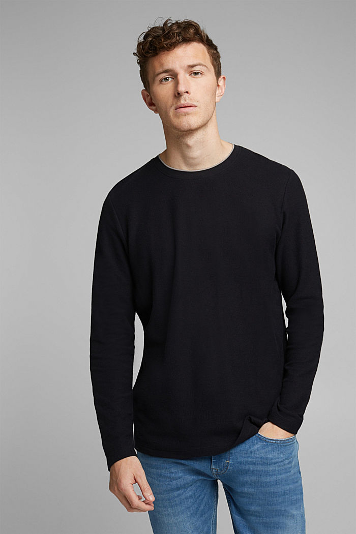 Textured long sleeve top, 100% organic cotton, BLACK, detail image number 0
