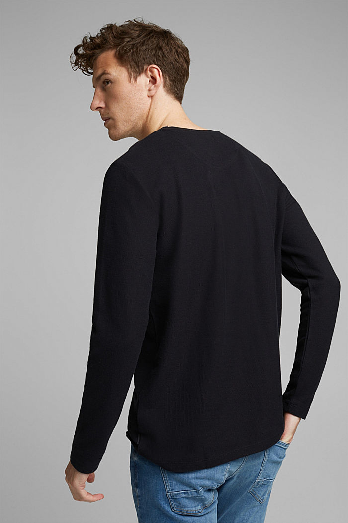 Textured long sleeve top, 100% organic cotton, BLACK, detail image number 3