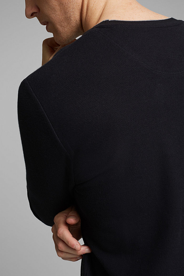Textured long sleeve top, 100% organic cotton, BLACK, detail image number 1
