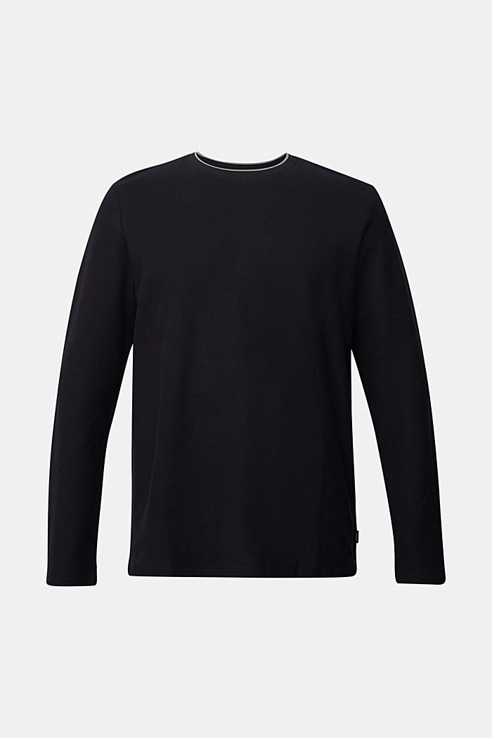 Textured long sleeve top, 100% organic cotton, BLACK, detail image number 5