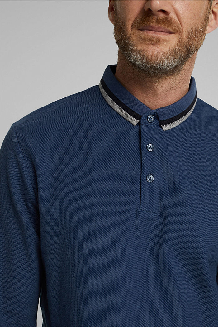 Polohemd aus 100% Organic Cotton, GREY BLUE, detail image number 1