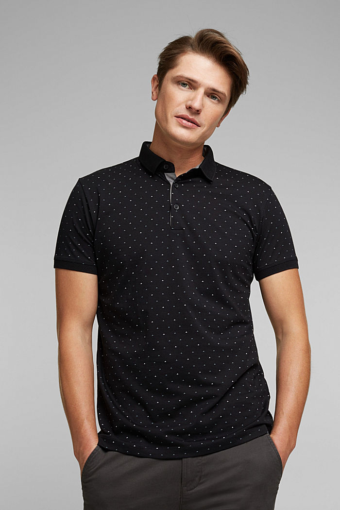 Jersey polo shirt made of 100% organic cotton, BLACK, detail image number 0