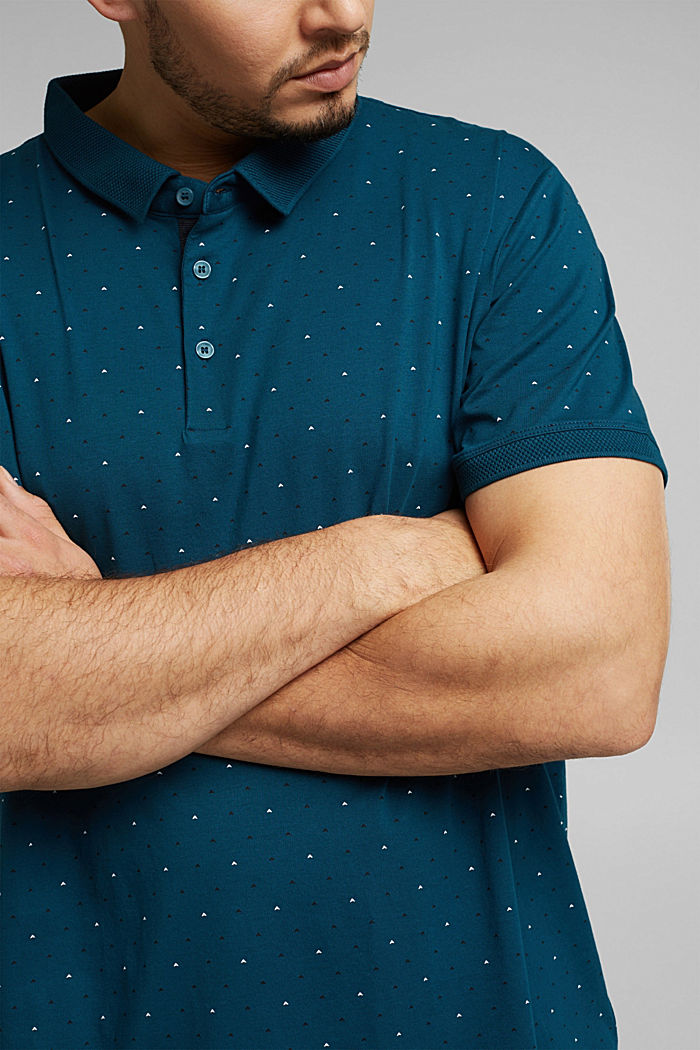 Polo shirt in 100% organic cotton, TEAL BLUE, detail image number 1