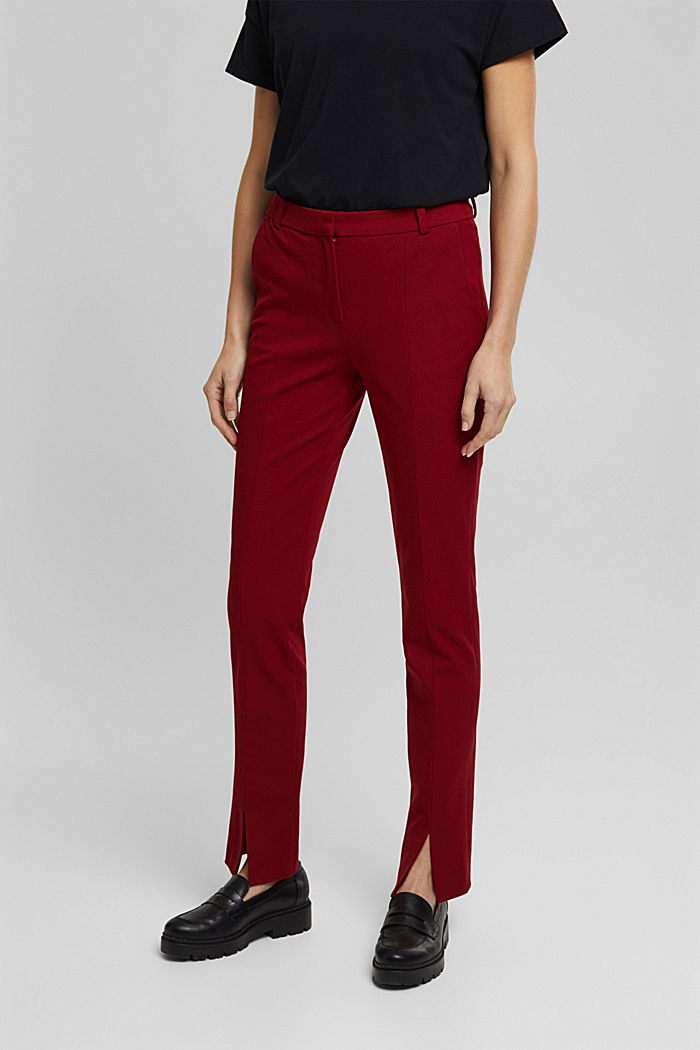 Jersey trousers with LENZING™ ECOVERO™, DARK RED, detail image number 0