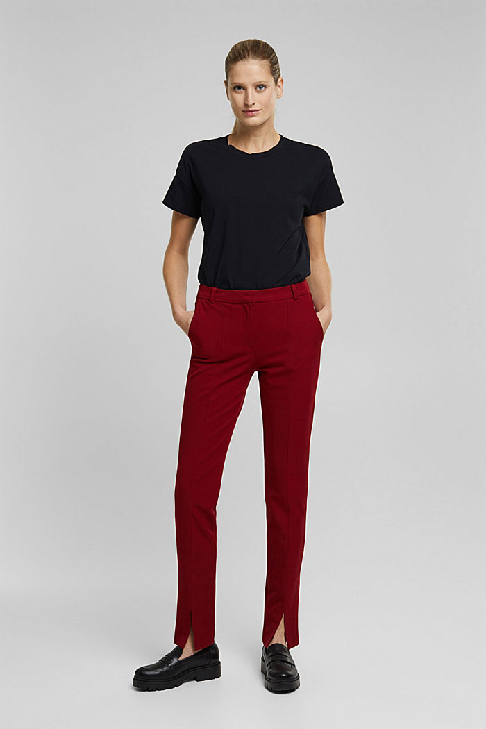 Jersey trousers with LENZING™ ECOVERO™, DARK RED, detail image number 6