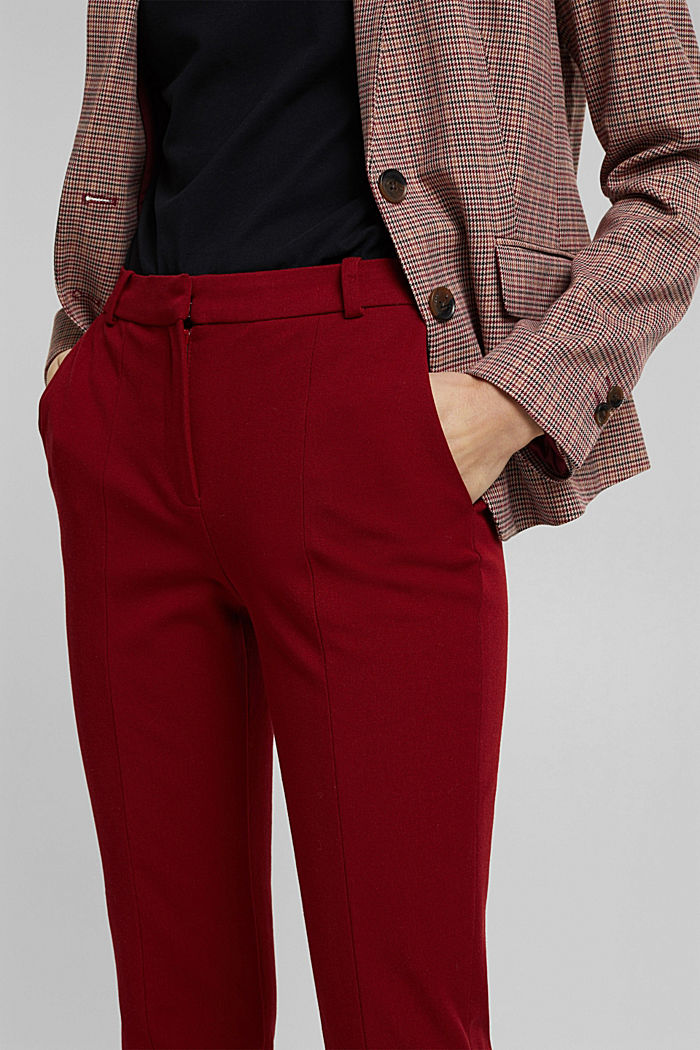 Jersey trousers with LENZING™ ECOVERO™, DARK RED, detail image number 2