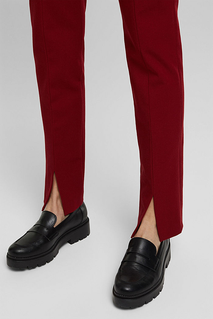 Jersey trousers with LENZING™ ECOVERO™, DARK RED, detail image number 5