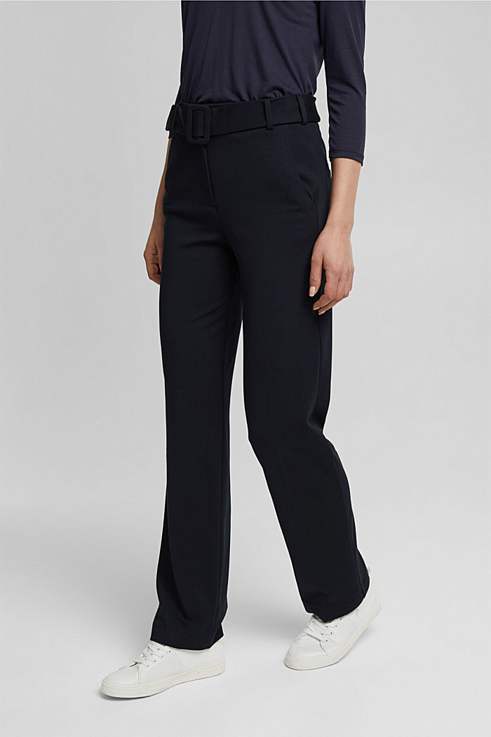 Jersey trousers with LENZING™ ECOVERO™, BLACK, detail image number 0