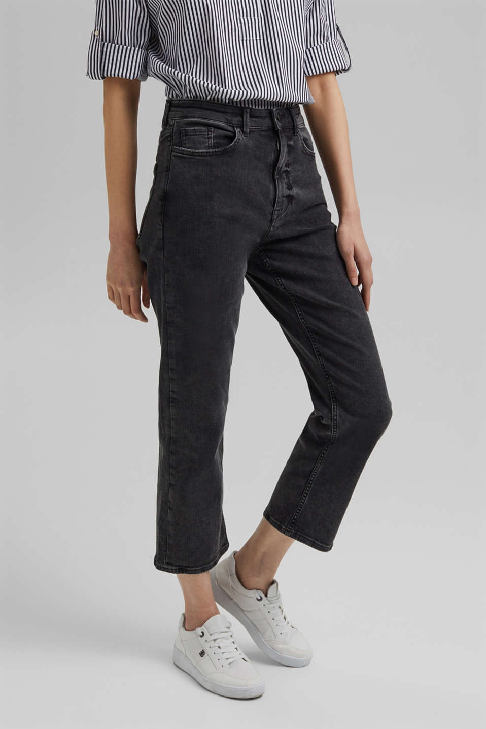 Esprit - Stumpede high rise-jeans med stretch