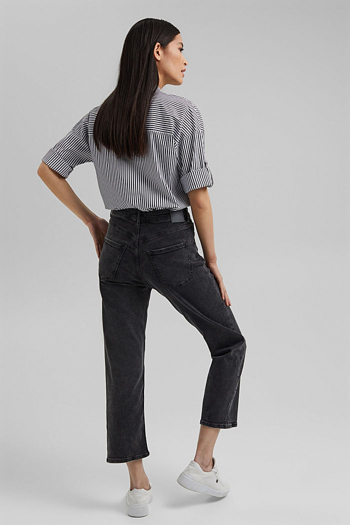 Ankle-length high-waisted stretch jeans, BLACK DARK WASHED, detail image number 3