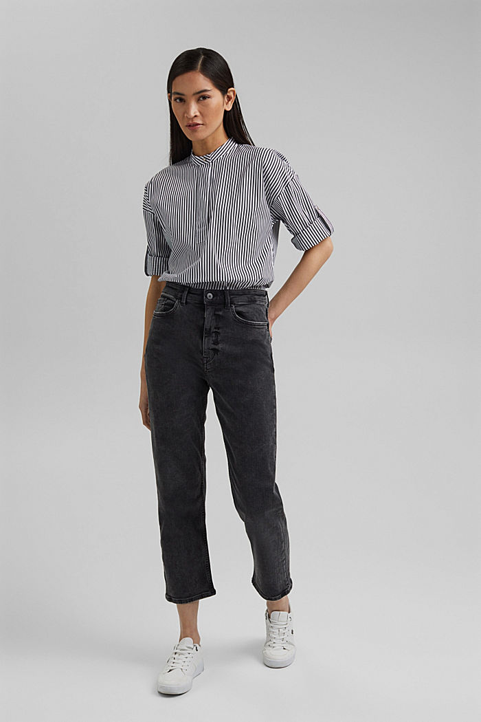 Ankle-length high-waisted stretch jeans, BLACK DARK WASHED, detail image number 1