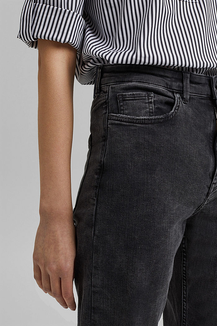 Ankle-length high-waisted stretch jeans, BLACK DARK WASHED, detail image number 2