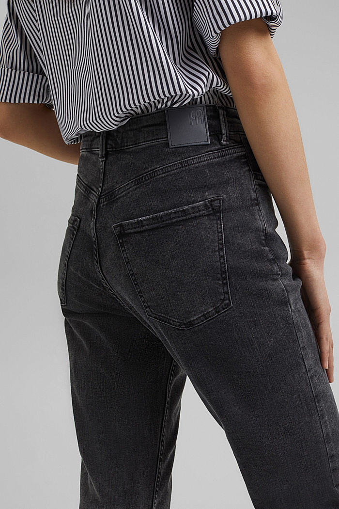 Ankle-length high-waisted stretch jeans, BLACK DARK WASHED, detail image number 5