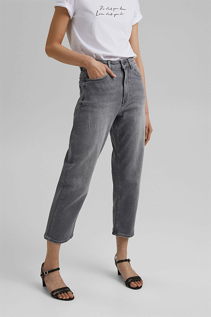 Ankle-length jeans with a straight leg, GREY MEDIUM WASHED, detail image number 0