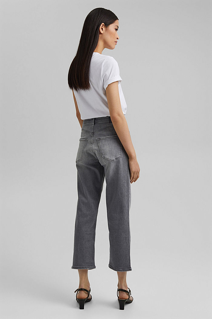 Ankle-length jeans with a straight leg, GREY MEDIUM WASHED, detail image number 3