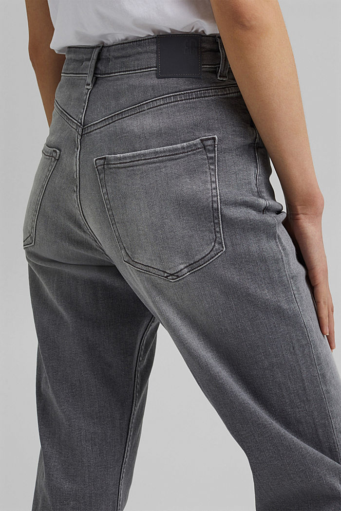 Ankle-length jeans with a straight leg, GREY MEDIUM WASHED, detail image number 2