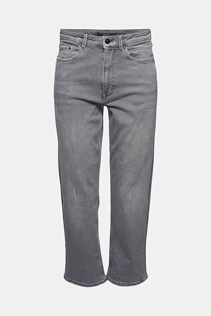 Ankle-length jeans with a straight leg, GREY MEDIUM WASHED, detail image number 5