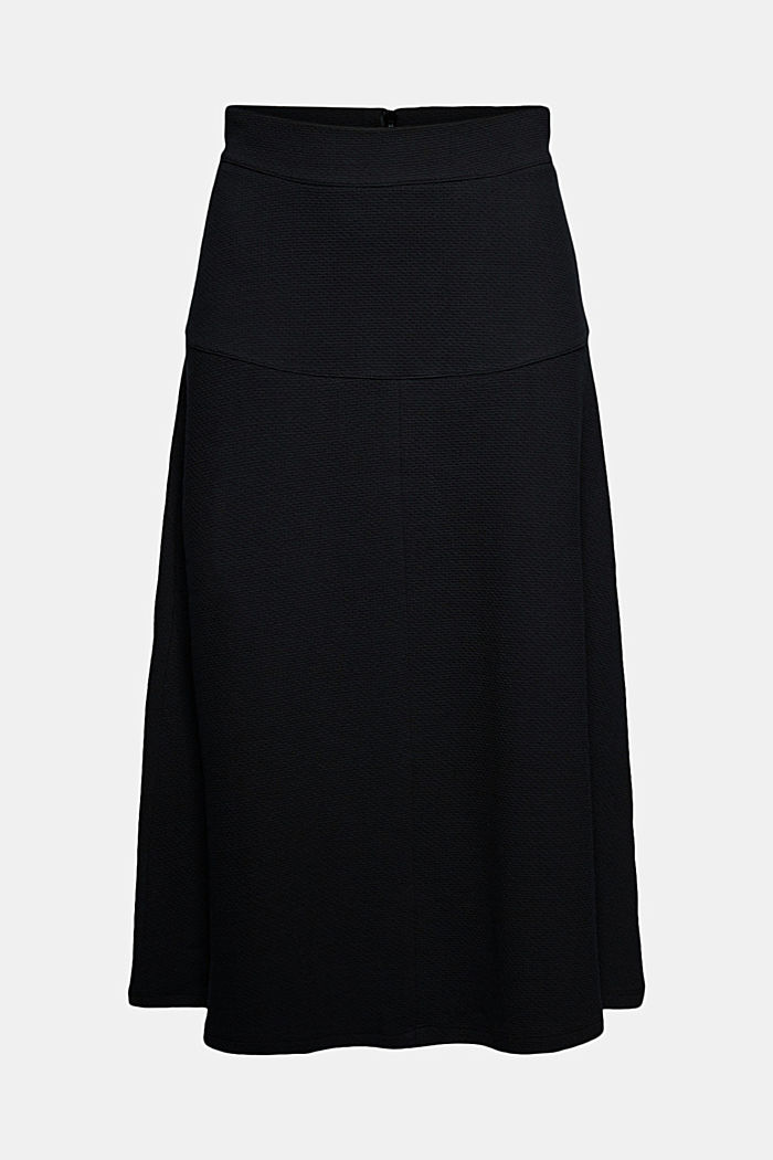 Midi skirt made of textured knit fabric