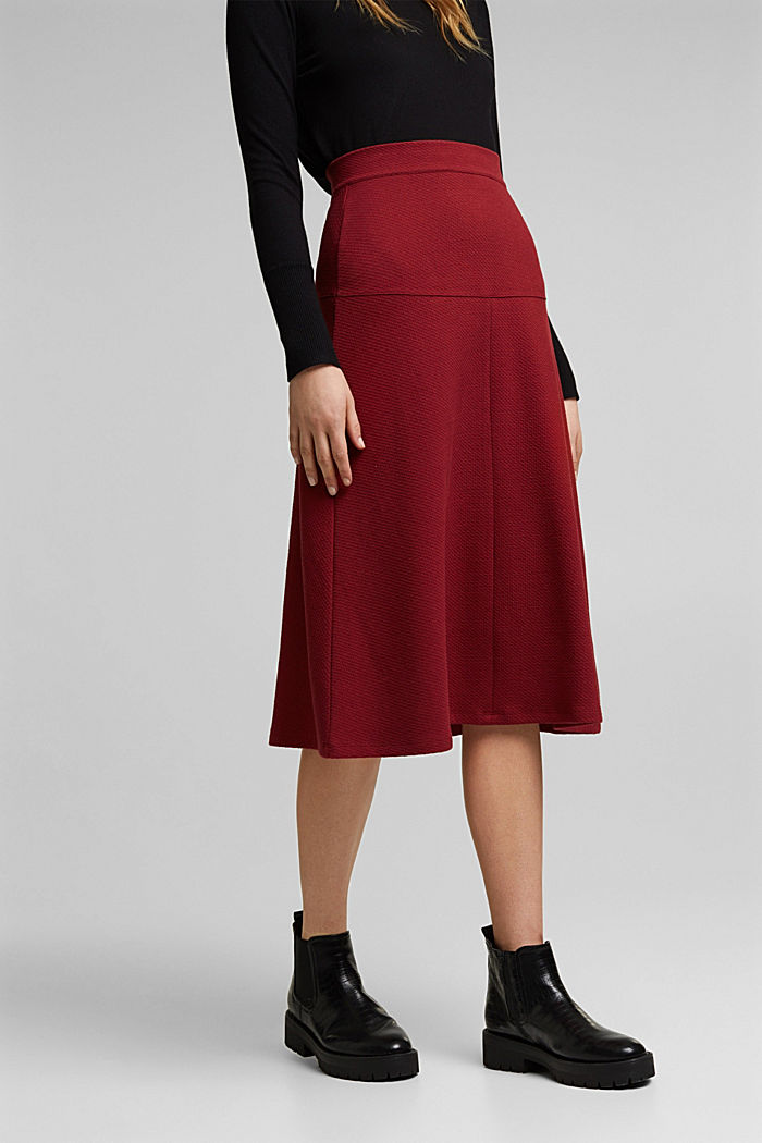 Midi skirt made of textured knit fabric, DARK RED, detail image number 0
