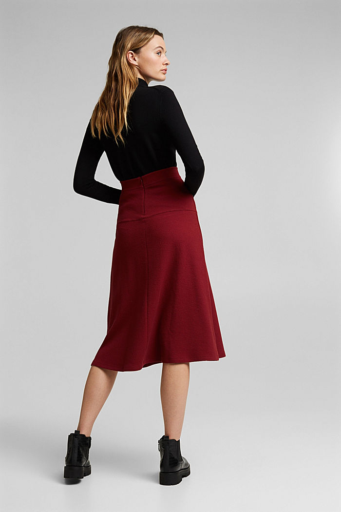 Midi skirt made of textured knit fabric, DARK RED, detail image number 3
