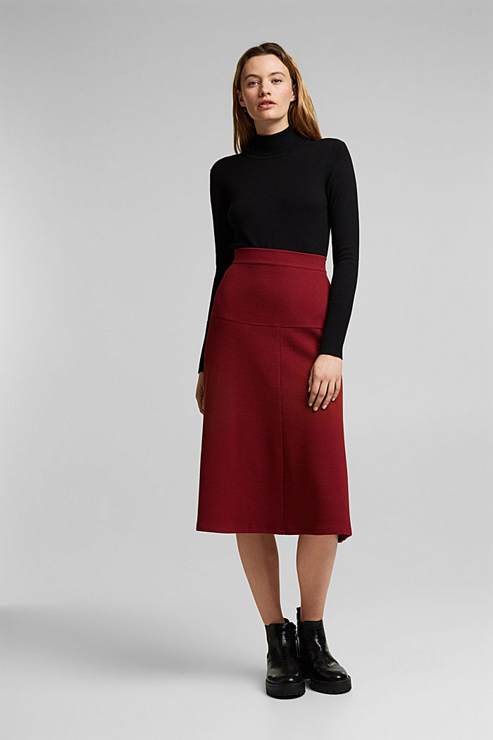 Midi skirt made of textured knit fabric, DARK RED, detail image number 6