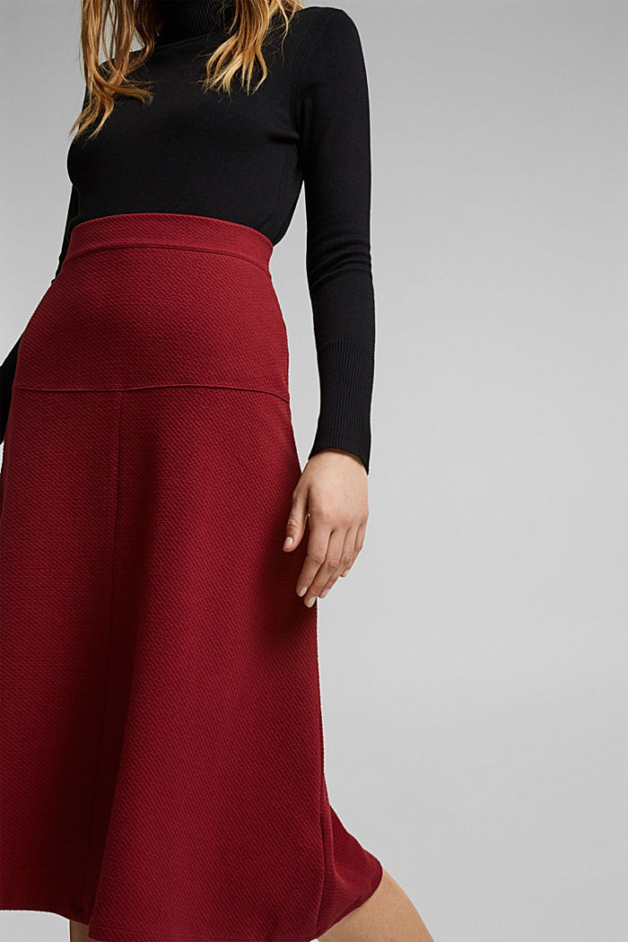 Midi skirt made of textured knit fabric, DARK RED, detail image number 2