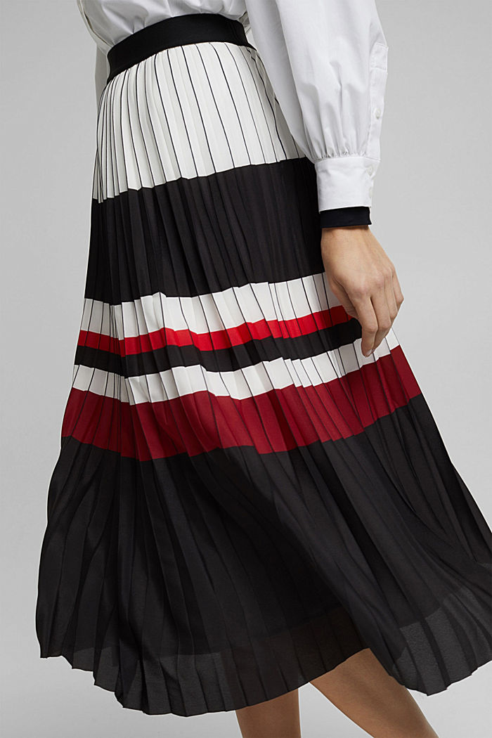 Pleated skirt with an elasticated waistband, BLACK, detail image number 2